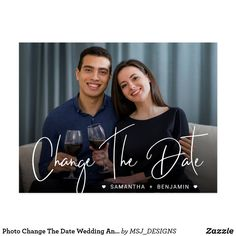 Shop Photo Change The Date Wedding Announcement Postcard created by MSJ_DESIGNS. Personalize it with photos & text or purchase as is! Funny Wedding Cards, Wedding Humor, Wedding Tips, Wedding Photos, Wedding Planning, Save The Date Postcards, Photo Postcards, Floral Wedding Save The Dates, Postcard Invitation