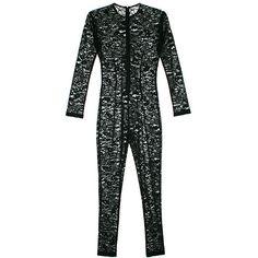 Fleur du Mal Chat Noir Lace Catsuit (1,290 NZD) ❤ liked on Polyvore featuring jumpsuits, black, bodysuits, intimates, lace jumpsuit and fleur du mal