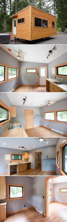 Ptarmigan by Rewild Homes – Tiny Living Ready to enjoy tiny living during your retirement years? Rewild Homes built the Ptarmigan for those looking to age comfortably in place. The single level tiny home has an ensuite bathroom with safety handles. Tiny House On Wheels, Small House Plans, Tiny House Nation, Tiny Spaces, Tiny House Living, Tiny House Design, Small Space Living, Little Houses, Building A House