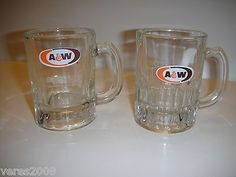 A and W A&W Root Beer Glass Mugs Cups Child Size Vintage 4 ounces  Lot Of 2