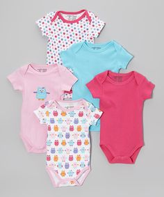 With five precious bodysuits featuring a sweet mix of prints, appliqués and hues, this adorable set will keep cuties clothed in comfort from one day to the next. Each piece features a cozy lap neck and snaps on bottom, so dressing is always simple. Includes five bodysuits100% cottonMachine wash; tumble dryImported