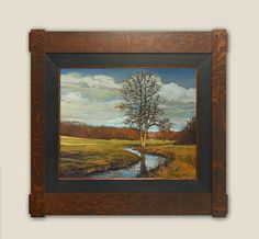 """February Day"" - Oil on Canvas -  Jan Schmuckal - Tonalist Impressionist Artist - Frame by Dard  Hunter"
