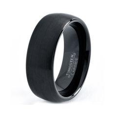 Mens Tungsten Carbide Wedding Band Ring 7mm 5-15 Half Sizes Black Enameled Brushed Center Rounded Comfort Fit Custom Engraved