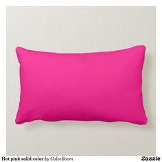 Hot pink solid color lumbar pillow Pink Throws, Pink Throw Pillows, Colorful Pillows, Decorative Throw Pillows, Bed Pillows, Pink Cushions, Free Sewing, Custom Pillows, Lumbar Pillow