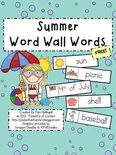 Summer Word Wall Words {FREE}