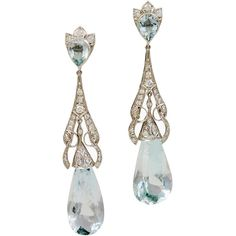 Preowned Art Deco Aquamarine Diamond Teardrop Earrings ($16,000) ❤ liked on Polyvore featuring jewelry, earrings, aquamarine, multiple, aquamarine diamond earrings, aquamarine jewellery, art deco diamond earrings, sparkle jewelry and tear drop earrings