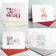 Foodie Notecards Set Of 4 now featured on Fab.