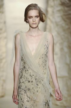 Wedding dress: Pale. Grey. Green. Embroidered. Sheer. Donna Karan
