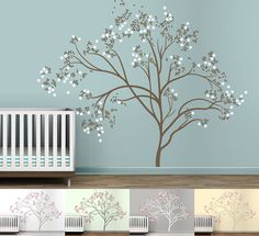Think I am going to do something like this in the kids bathroom in a hard to fill spot. Dark brown tree and pinks.