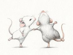 illustration, dancing, mouse, mice, couple, drawing, real