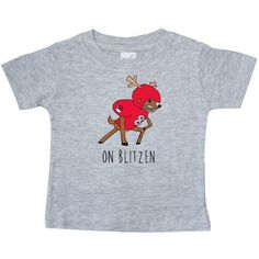 Inktastic On Blitzen Baby T-Shirt Blitz Reindeer Christmas Santa North Pole Football 8 Funny Xmas Lol Humor Crude T-shirt Infant Tees Shower Gift Clothing Apparel, Infant Boy's, Size: 12 Months, Grey