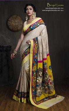 Hand Painted Kalamkari Patch Work on Gicha Tussar Saree in Beige and Yellow Saree Blouse, Sari, Hand Painted Sarees, Kalamkari Saree, Yellow Saree, Desi Wear, Saree Styles, Indian Sarees, Indian Dresses