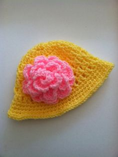 Yellow Crochet Sun Hat with Pink Flower by LakeviewCottageKids, $18.00