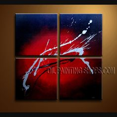 Large Modern Abstract Painting Hand Painted Oil Painting Stretched Ready To Hang Abstract. This 4 panels canvas wall art is hand painted by Bo Yi Art Studio, instock - $135. To see more, visit OilPaintingShops.com