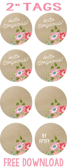 Label: Kraft Floral Circle Tags - Free Pretty Things For You