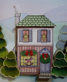 Toy Shoppe House---Makes a Cute Christmas Card! Stamp designed by Kathryn Read at Holly Berry House Originals.