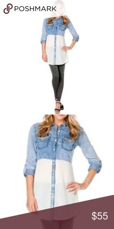"""NWT Miss Me Sheer Block Chambray Tunic Blouse Miss Me sheer block embroidered chambray tunic shirt.  Size small.  New with tags.  Tab roll up sleeves.  100% cotton.  Measures 17"""" from armpit to armit / 31"""" long from top of shoulder to hem / sleeve length when not rolled up is 32.5"""" measured from the back of the middle of the neck to the end of the sleeve. Miss Me Tops Blouses"""