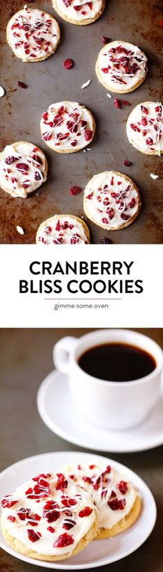Cranberry Bliss Cookies -- delicious sugar cookies copped with cranberries and white chocolate and frosting, inspired by the popular cookies from Starbucks!   gimmesomeoven.com
