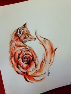 I'm not crazy about the rose in the body, but I love the style of the fox and it's white eyes