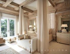 Carpet, Crown molding, Box, Contemporary, French, Built-in bookshelves/cabinets, canopy bed, drapes over bed
