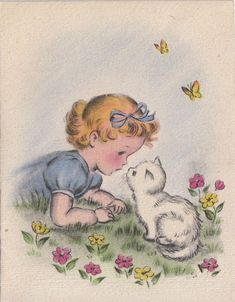 Vintage Greeting Card Girl White Cat Kitten Norcross v349