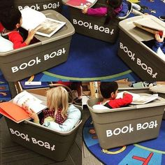 Book boat flexible seating - great for sensory kids too Not sure how practical this would be but nice idea! Classroom Organization, Classroom Management, Classroom Decor, Classroom Libraries, Creative Classroom Ideas, Elementary Classroom Themes, Kindergarten Classroom Setup, Preschool Library, Classroom Design