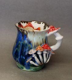 Mushrooms mug Alice in Wonderland Surprise cup Drink Me Ceramic mug green Art mug ceramic Vase handle ,Big mug Small vase Mushroom figurine Ceramic Cups, Ceramic Pottery, Pottery Art, Wabi Sabi, Mushroom Art, Clay Mugs, Porcelain Jewelry, Green Art, Tea Pots