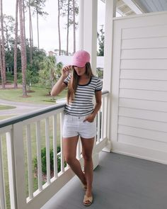 Outfit Details: Madewell Tee, Frame Shorts, Carrie Forbes Sandals (old, similar here and here), Southern Tide Hat