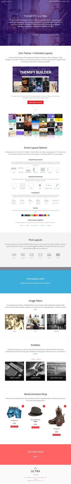 Ultra is a responsive, flexible and powerful WordPress theme that can be used to create any site quickly and beautifully. Cusomizable from Header to Footer Premium Wordpress Themes, Flexibility, Purpose, Back Walkover