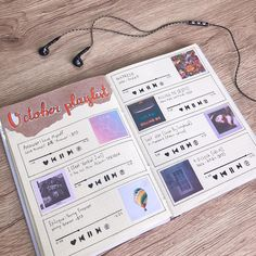 Bullet Journal Mood Tracker Ideas, Bullet Journal Travel, Bullet Journal Notes, Bullet Journal Aesthetic, Bullet Journal School, Bullet Journal Themes, Bullet Journal Inspiration, Journal Ideas, Music Journal