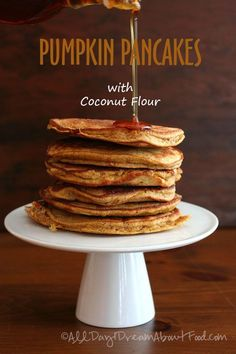 Pumpkin pancakes made with coconut flour and coconut oil. Low carb, gluten-free and dairy-free. A perfect fall breakfast. Today's recipe is brought to you by panic and a slightly messed up editoria... #lowcarbohydratedietcoconutflour