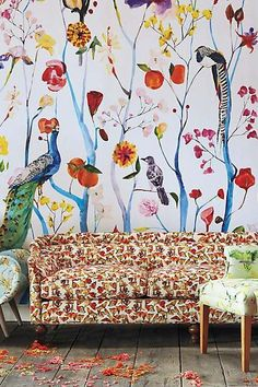 1000 images about walls on pinterest wallpapers wall for Anthropologie mural wallpaper