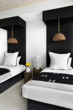 """Tall """"headboard"""" with valance and pendant lamp...like the architecture"""