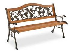 Park Bench With Cast Iron Back/ Sides- Rose-AFW