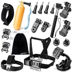 Zookki Accessories Kit for GoPro Hero 5 4 3 3 2 1 SJ4000 SJ5000 Camera Black  Silver ** Learn more by visiting the image link.Note:It is affiliate link to Amazon. #california