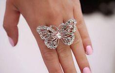 Anel borboleta prata