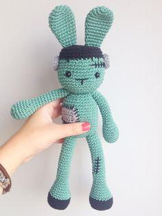 479dfd9414a Halloween Crochet Frankenstein Plush Bunny Plush by MarigurumiShop