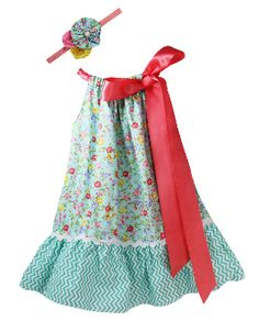 Coral/Aqua Floral and Chevron Pillowcase Dress and Headband. Perfect for Spring and Summer!