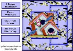Two Little Dicky Birds on Craftsuprint designed by Gail Collins - a really bright pretty eye catching card - Now available for download!