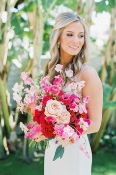 "From the editorial ""Boho Brides Will Go Crazy for This Modern Palm Springs Wedding With Pops of Fuchsia."" This bouquet is an instant mood booster and the perfect way to incorporate fun colors into the bride and groom's inspiring fête! Photography: @ashleyraestudio  #pinkbouquet #pinkweddingflowers #bohobouquet #bohobride #pinkinspiration Winter Wedding Flowers, Rustic Wedding Flowers, Floral Wedding, Summer Wedding, Wedding Decor, Bride Bouquets, Bridesmaid Bouquet, Bridesmaids, Pippin Hill Wedding"