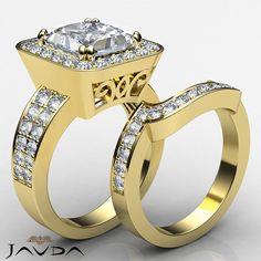 Bridal Set Halo Princess Diamond Engagement Ring GIA G SI1 14k Yellow Gold 2.75ct