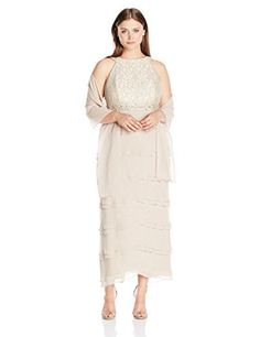 c49783c9009 Jessica Howard Womens Plus Size Sleevless Gown with Layered Skirt Beige 16W  -- You can