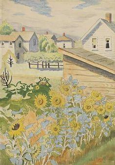 CHARLES BURCHFIELD Row of Sunflowers (1916)