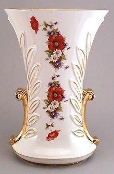 Abingdon Pottery Vase Poppies Daisies Violets Gold Gilding 486 | eBay