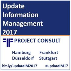 Update Information Management 2017 # Hamburg 24.1.2017 https://www.xing-events.com/1750333-2ce9ba62.html  # Kassel 25.1.2017 auf Anfrage  # Frankfurt 26.1.2017 https://www.xing-events.com/1750533-8431b5d1.html  # Düsseldorf 31.1.2017 https://www.xing-events.com/1750543-101bfbf8.html  # Stuttgart 1.2.2017 https://www.xing-events.com/1750561-6261c4ef.html
