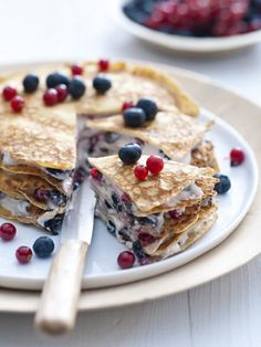 Layered crepe breakfast cake. I like it but it needs a different filling than just cream cheese! ;)