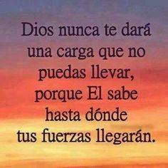 Dios nunca te dará una carga que no puedas llevar...
