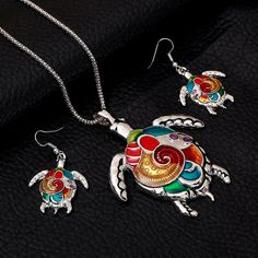 Check out Fashion Girl Lovely, Jewelry Sets, tortoise Shape, Colorful Painted, Necklace Earrings, summer style jewelry, Silver Pendant, gift for her on melindajewelrystore