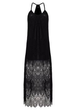 9c6018c3cb1 Zuvebamyo Womens Slip Dress Deep V Neck Lace Spaghetti Straps Maxi Beach Dresses  Black XXL