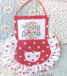 HoHoHo christmas ornament Handmade Apron by CrossStitchElizabeth